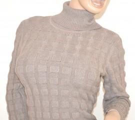 MAGLIONE BEIGE TORTORA  donna pullover maglioncino collo alto lana maglia maniche lunghe Z5