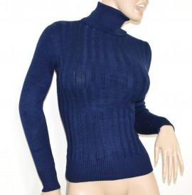 MAGLIONE BLU collo alto donna manica lunga maglietta dolcevita pullover G2