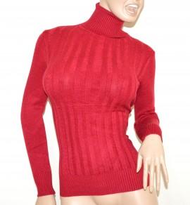 MAGLIONE ROSSO collo alto donna manica lunga maglietta dolcevita pullover G2