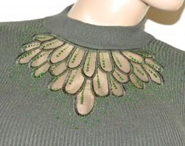MAGLIONE VERDE donna maxi pull maglietta manica lunga velato strass taglia unica G9
