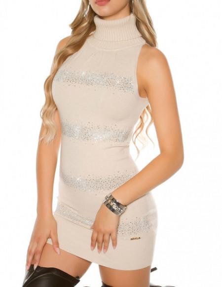 MAXI PULL BIANCO PANNA donna maglione smanicato maglietta sottogiacca collo alto A12