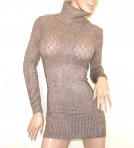 MINI ABITO MAXI PULL BEIGE TORTORA donna vestito collo alto dolcevita manica lunga G10