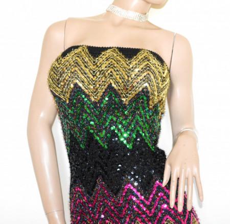 MINI ABITO NERO donna vestito tubino fascia paillette oro verde fucsia dress B32