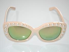 OCCHIALI da SOLE BEIGE PERLE donna lenti verdi occhi di gatto sunglasses G10