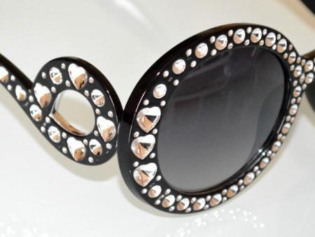 OCCHIALI da SOLE NERI donna lenti aste effetto strass cristalli trasparenti cuori BB10
