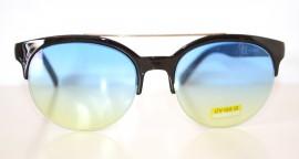 Occhiali da sole uomo nere lenti rotonde azzurre man sunglasses gafas de sol Z5
