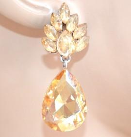 ORECCHINI ARGENTO AMBRA cristalli strass donna pendenti goccia eleganti boucles L20
