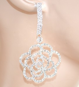 ORECCHINI ARGENTO donna STRASS cristalli pendenti SPOSA eleganti da cerimonia feste E65