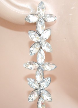 ORECCHINI ARGENTO fiori pendenti lunghi cristalli strass sposa cerimonia E145