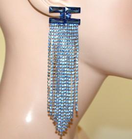 ORECCHINI BLU AZZURRI cristalli donna fili strass pendenti lunghi cerimonia G52