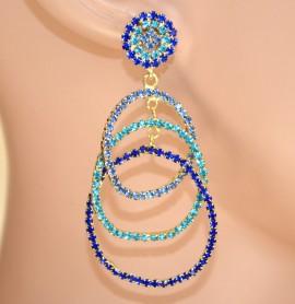 ORECCHINI CERCHI donna ORO cristalli BLU AZZURRI CELESTI strass cerimonia E110