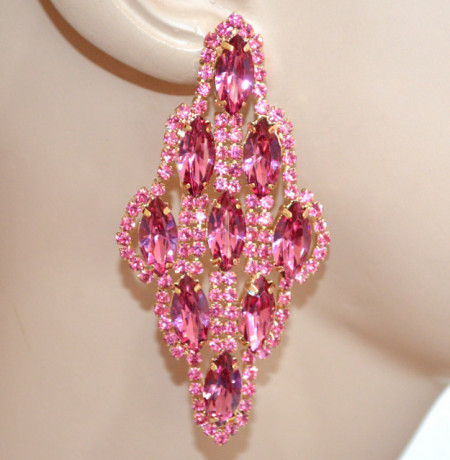 ORECCHINI CRISTALLI donna ROSA FUCSIA ORO Strass pendenti gocce eleganti earrings N83