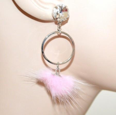 ORECCHINI donna argento cerchi pendenti cristallo pon pon rosa ragazza moda CC84