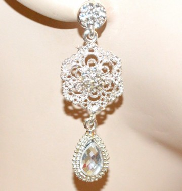 ORECCHINI donna argento platino cristallo trasparente pendenti fiore strass CC39