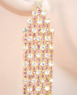 ORECCHINI donna CRISTALLI eleganti ORO ROSA FUCSIA pendenti STRASS da cerimonia party 190X