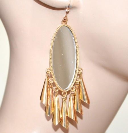 ORECCHINI donna ovali a specchio oro dorati pendenti ciondoli sonaglini CC121