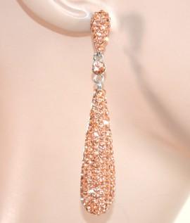 ORECCHINI donna pendenti ARGENTO CORALLO strass cristalli da cerimonia eleganti E59
