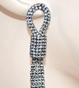 ORECCHINI NERI donna lunghi fili cristalli pendenti strass eleganti da cerimonia E1