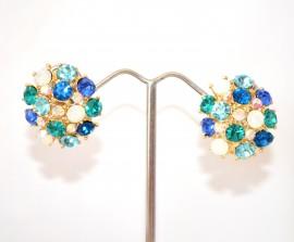 ORECCHINI ORO A CLIPS donna a bottone dorati cristalli azzurri celesti verdi elegante cerimonia E225