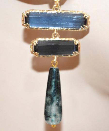 ORECCHINI ORO Blu Grigio donna pendenti pietre dure occhio di gatto marcasite bronzo dorato P8