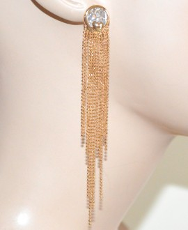 ORECCHINI ORO donna CRISTALLO pendenti ELEGANTI pendientes da cerimonia earrings 1025