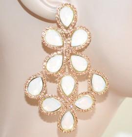 ORECCHINI ORO ROSA CORALLO pendenti cristalli donna eleganti strass boucles F180