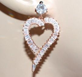ORECCHINI ORO ROSA donna pendenti strass cuore cristalli elegante cerimonia A25