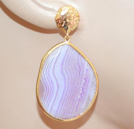 ORECCHINI PIETRA Agata Viola Lilla Glicine donna bronzo oro dorato pendenti stone earrings P12