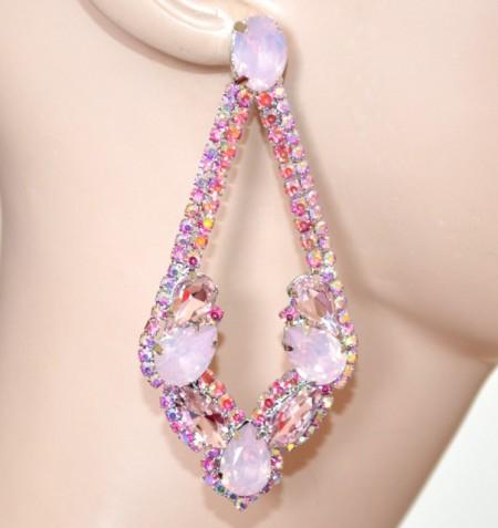 ORECCHINI ROSA CIPRIA strass cristalli donna argento pendenti eleganti lunghi BB56