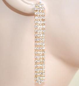 ORECCHINI strass donna oro pendenti cristalli eleganti cerimonia boucles F120