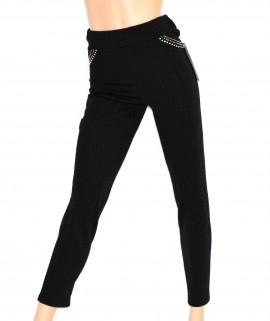 Pantalone donna NERO leggings pantacollant STRASS fuseaux elasticizzato брюки 30