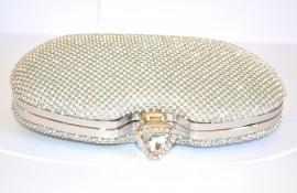 POCHETTE CRISTALLI ARGENTO donna BORSELLO ELEGANTE CERIMONIA CLUTCH bag borsa STRASS 930B
