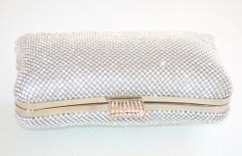 POCHETTE donna ARGENTO STRASS borsello clutch cristalli borsa da cerimonia sposa elegante H40