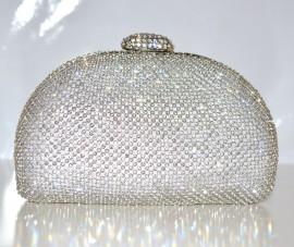 POCHETTE donna CERIMONIA clutch ARGENTO con STRASS cristalli borsetta borsello elegante bag bolsa 85
