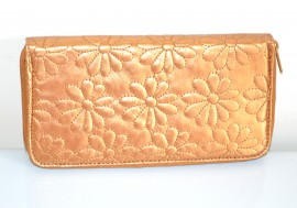 PORTAFOGLIO borsello donna ORO BRONZO pelle fiori borsellino clutch x borsa 1275