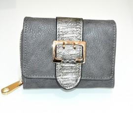 PORTAFOGLIO GRIGIO donna fibbia oro borsello portamonete borsellino clutch G6