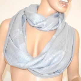 Sciarpa ARGENTO scaldacollo donna FILI argento metallizzati ad anello ELEGANTE sciarpetta da cerimonia scarf 1000