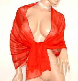 STOLA 70% seta ROSSA donna maxi foulard coprispalle elegante scialle velato cerimonia A8