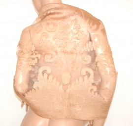 STOLA BEIGE maxi foulard donna seta velata ricamata elegante coprispalle da cerimonia E80