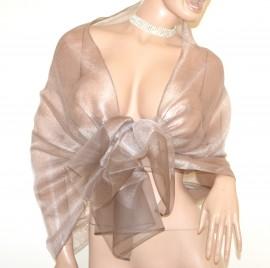 STOLA beige tortora donna 50% seta velata foulard maxi coprispalle scialle elegante A80
