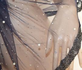 STOLA BLU NOTTE donna maxi coprispalle foulard tulle velato perle strass cerimonia elegante 55Z