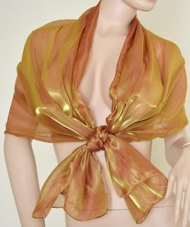 foto ufficiali 6f981 da49a Stola Coprispalle donna oro\bronzo metallizzato elegante per abito da  sera\cerimonia