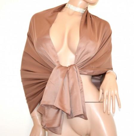 STOLA MARRONE TORTORA donna maxi foulard coprispalle scialle raso cerimonia G82