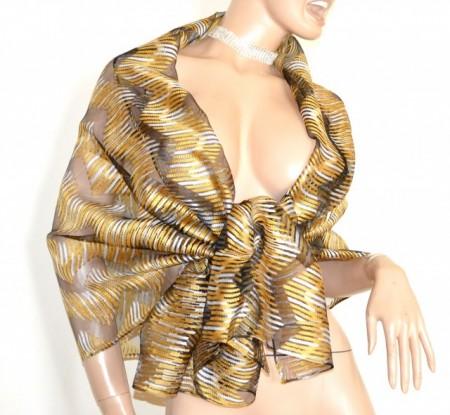 nuovi stili 57fe9 1857a STOLA NERA ORO gialla maxi foulard 20%SETA donna coprispalle scialle velato  sciarpa trasparente G60