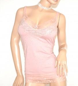 TOP canotta ROSA pizzo strass donna maglietta sottogiacca cerimonia scollo V elegante A6