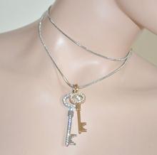 Collana donna girocollo argento laccio ciondoli chiavi oro strass sexy elegante cerimonia collar 121