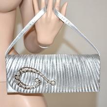 Borsello argento pochette cristalli elegante strass donna serpente da donna per abito cerimonia 118