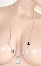 COLLANA donna LUNGA CIONDOLI CUORI argento laccio STRASS brillantini collier 510