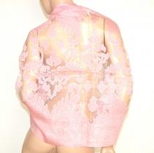 MAXI STOLA donna ROSA elegante foulard seta velata ricamata coprispalle cerimonia E80