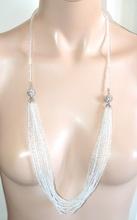 COLLANA TRASPARENTE donna 3 in 1 lunga girocollo strass fili perline cristalli collier A86